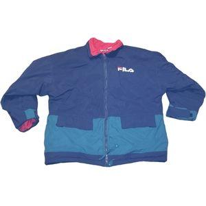Vintage FILA Winter Jacket Tri Color Puffer Coat L